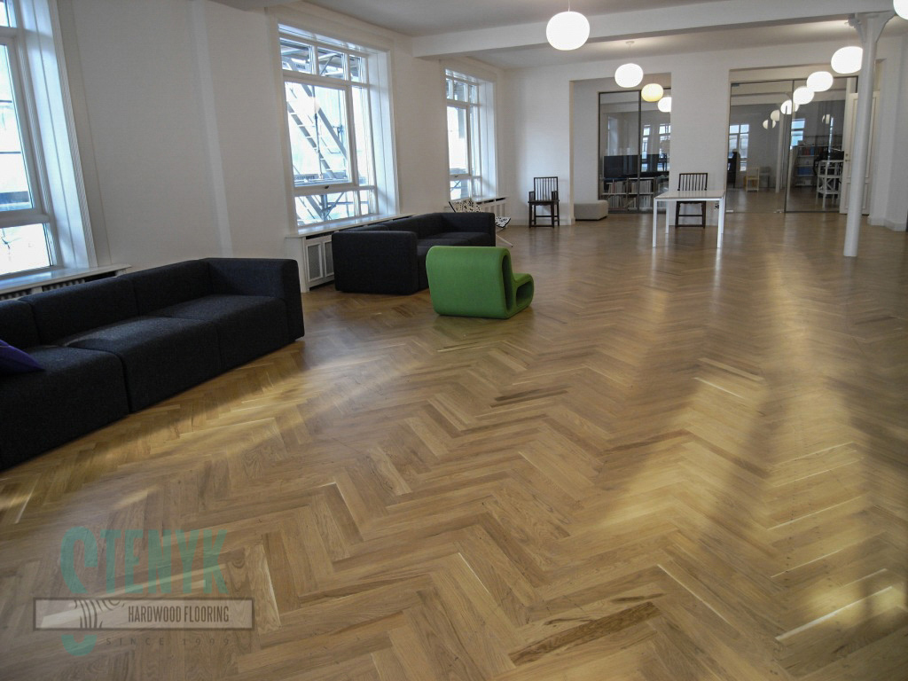 70mm Fishbone parquet, Rustic grade in the working office